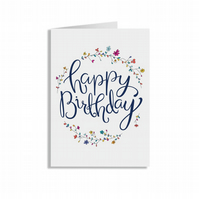 Crafty Graphics White A5 Flower Ring Happy Birthday Greeting Card
