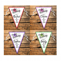 Crafty Graphics Personalised 2.5m Happy Birthday Gin Glass Bunting - 10 A4 Flags