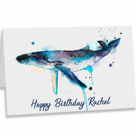 Crafty Graphics Personalised A5 Whale Happy Birthday Greeting Card