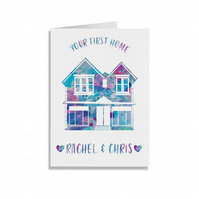 Crafty Graphics White A5 Personalised Watercolour Your New Home Greeting Card