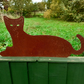 Rusty Metal Cat Fence Topper Garden Ornament