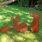 Rusty Metal Rabbit Family of 3 Garden Ornament - Part of Metal Animal Collection