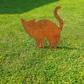 Rusty Metal Standing Cat Garden Ornament Silhouette Sculpture