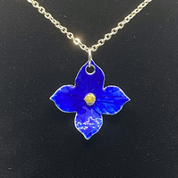 Silver Enamelled Blue Flower Pendant
