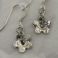 Silver Embossed Blossom Earrings
