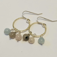 Silver circle and gemstone bead earrings