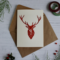 Hand printed Red Deer Stag Christmas Card Original Lino cut print Xmas card