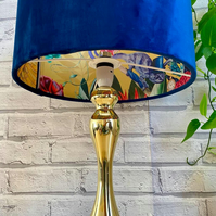 Blue plush velvet lampshade with Holden Wonderland Tropical wallpaper