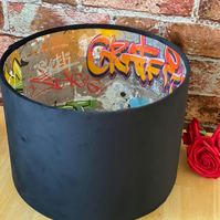 Drum lampshade with graffiti print by Fine Dcor multicoloured - Urban Style