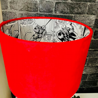Avengers themed plush velvet lampshade featuring on a Comic Strip Wallpaper