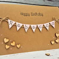 Personalised 5 x 7 inch Birthday Card - Bunting Card - Brown Kraft - Hearts