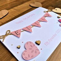 Personalised 5 x 7 inch Birthday Card - Bunting Card - White Card - Any Age