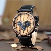 Osbourne Real wood and Leather Chronograph Watch