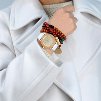 Greenwich Real Wood and Leather Ladies watch