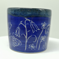 Blue Woodland Design Vessel with Bluebells, Bee, Snail, Daisies and a Toadstool