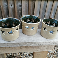 Ceramic Tea Light Holders with Star Cut-Outs