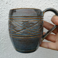 Mug in Blue and Sand Colours with Wave Texture