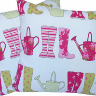 Wellies design, double sided Feature Cushion, Throw Pillow