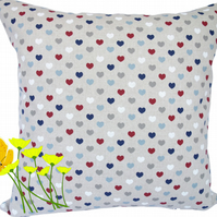 Small Hearts design, double sided Feature Cushion, Throw Pillow