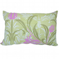 Green and Pink Floral, Oblong stripe reverse Feature Cushion, Throw Pillow