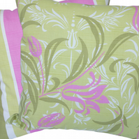 Green and Pink Floral, stripe reverse Feature Cushion, Throw Pillow