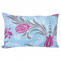 Cushion Cover, Blue and Pink Floral, stripe reverse Feature Throw Pillow
