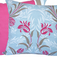 Blue and Pink Floral, stripe reverse Feature Cushion, Throw Pillow