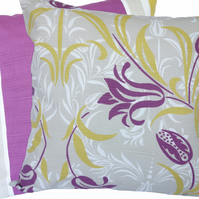 Cushion Cover, Purple and Tan Floral, stripe reverse Feature Throw Pillow