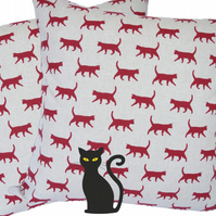 Red Cats, double sided Feature Cushion, Throw Pillow