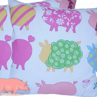 Pig design, double sided Feature Cushion, Throw Pillow