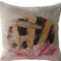 Bee on flower, printed panel Feature Cushion, Throw Pillow