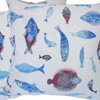 Blue and Red Fish, double sided Feature Cushion, Throw Pillow