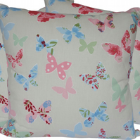 Blue and Pink Butterfly, double sided Feature Cushion, Throw Pillow