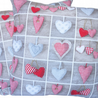 Hearts in Squares, double sided Feature Cushion, Throw Pillow