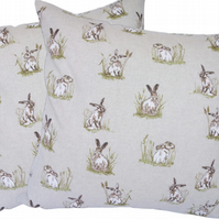 Hares in Grass, double sided Feature Cushion, Throw Pillow