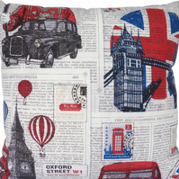Cushion Cover, London scene design 3, Decorative Feature Throw Pillow