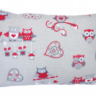 Red Owls, Oblong double sided Feature Cushion, Throw Pillow