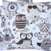 Cushion Cover, Brown Owls design Decorative Feature Throw Pillow