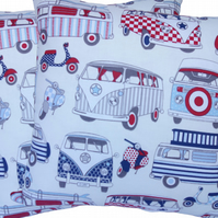 Red and Blue Camper Van, double sided Feature Cushion, Throw Pillow