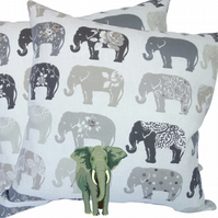 Cushion Cover, Grey Elephant design Decorative Feature Throw Pillow