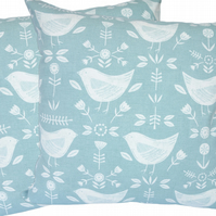 Cushion Cover, Birds on Teal design Decorative Feature Throw Pillow