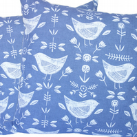 Cushion Cover, Birds on Blue design Decorative Feature Throw Pillow