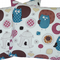 Cushion Cover, Blue Owls design Decorative Feature Throw Pillow