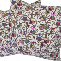 Purple Owls in Branches, double sided Feature Cushion, Throw Pillow
