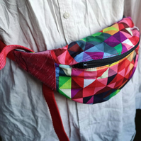 Cotton Rainbow Bumbag in Geometric Pattern with Polar Fleece Lining