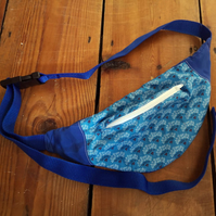 Cotton and Bamboo Bumbag in Blues and White with Polar Fleece Lining