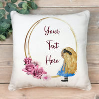Alice in wonderland cushion, Mad hatter cushion, custom made cushion, Cheshire c