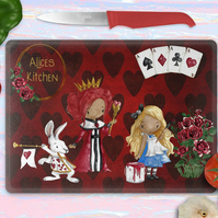 Alice in Wonderland chopping board, personalised cutting board, queen of hearts