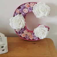 "Wedding Display Hollow Wooden Fillable Letters filled with Foam Flowers 9"" tall"