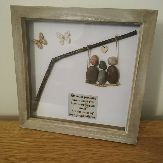 "Grandparents Pebble Art Picture UK 9x9"" Personalised Deep Box Frame"